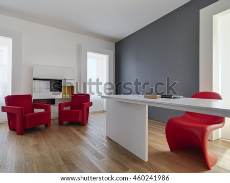 red armchairs and white desk in the modern living room whit wood floor - stock photo