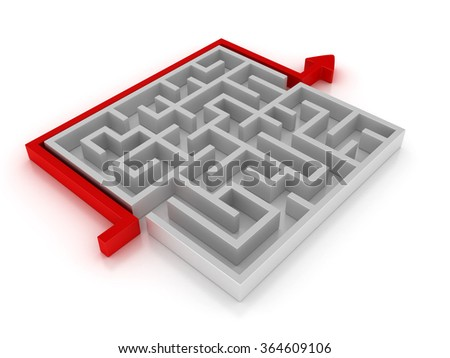 Red Arrow Across the Maze - High Quality 3D Render