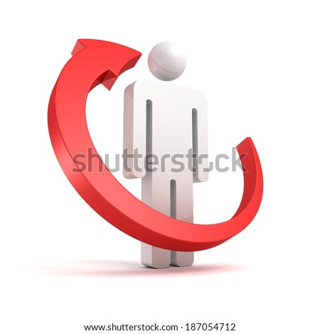 Red arrow around 3d business man icon on white background - stock photo