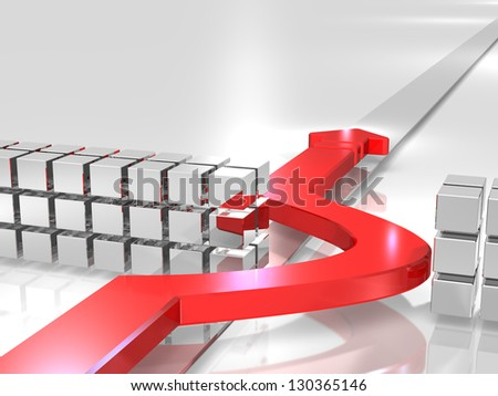 Red arrow bypass the trouble. - stock photo