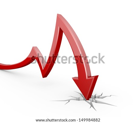red arrow - collapse - stock photo