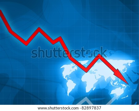 red arrow financial crisis blue background - stock photo