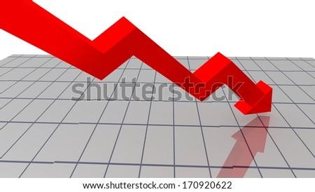 red arrow - financial index decline - stocks down - stock photo