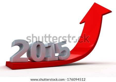 Red arrow going up showing growth in year 2015 - stock photo