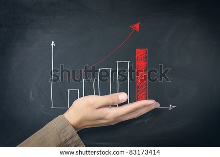 red arrow graph on hand