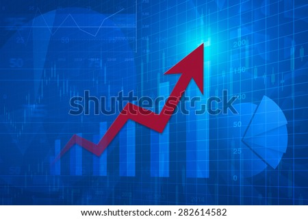 Red arrow head with financial chart and graph, success business concept