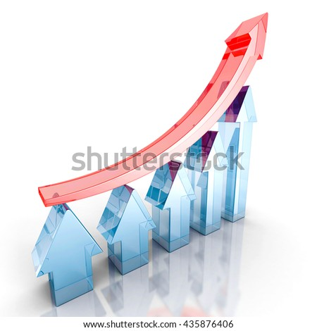 red arrow leader growing up on bar chart team. 3d render illustration - stock photo