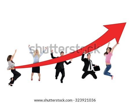 Red arrow report growth statistics - stock photo