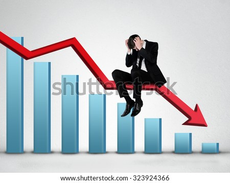 Red arrow report loss statistics - stock photo