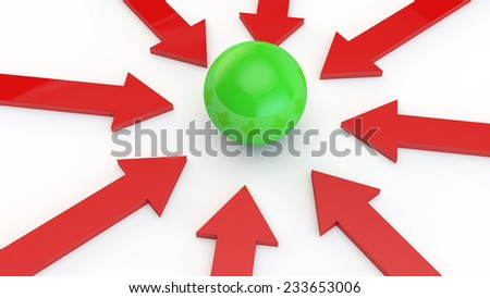 red arrows on a white background point to the green sphere in the center of the image - stock photo