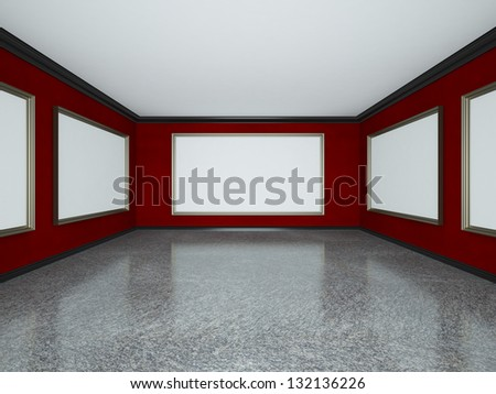 red art gallery interior with blank poster