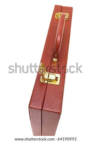 red attache case on a white background - stock photo