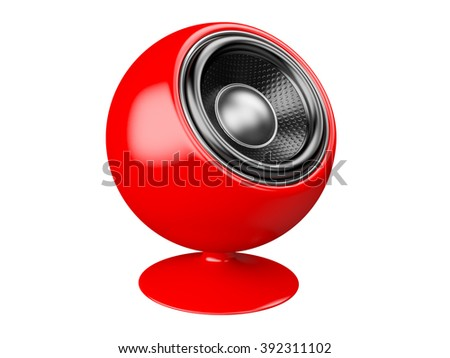Red audio speaker. 3d Illustration isolated on a white background. - stock photo