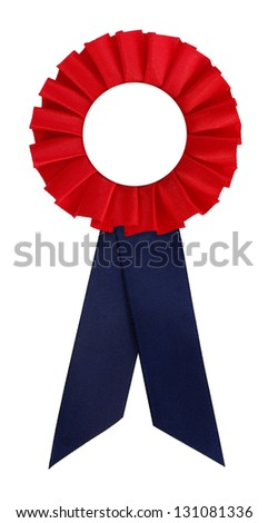 Red award rosette prize with blue ribbon blank - stock photo