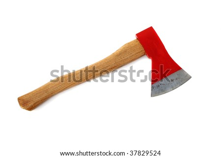 Red axe isolated on white - stock photo