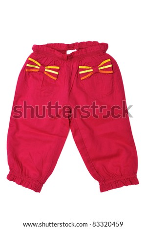 red baby girl's pants on over the white - stock photo