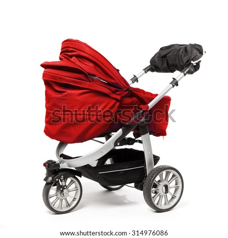 red baby stroller isolated on white - stock photo