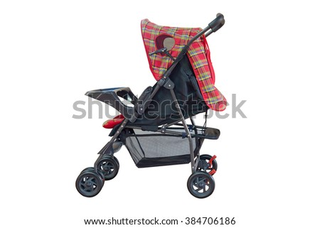 red baby stroller isolated on white background - stock photo
