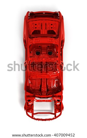 Red back body car with no wheel isolated on white 3d illustration - stock photo