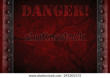 Red background with concrete and metal warning - stock photo