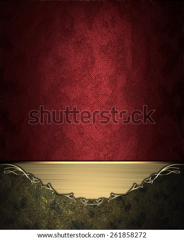 Red background with dark frame with gold border. Design template. Design site - stock photo