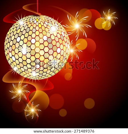 Red background with disco ball and glowing rotating spark - stock photo