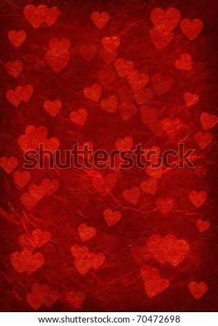 Red background with hearts. - stock photo