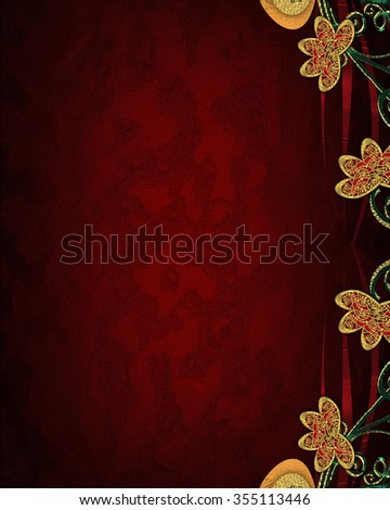 Red background with patterns of flowers. Element for design. Template for design. copy space for ad brochure or announcement invitation, abstract background