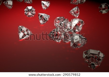 Red background with shiny diamonds and prism effects from illuminating lights - stock photo