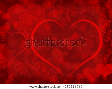 Red background with valentines hearts and copyspace illustration  - stock photo