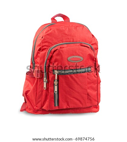 Red Backpack for traveling and hiking - stock photo