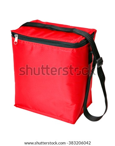 Red bag refrigerator isolated on white background