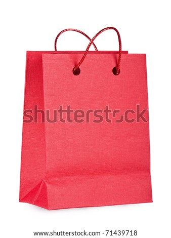 Red bag with purchases on the  white - stock photo