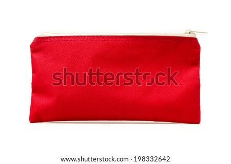Red bag with zipper isolated on white background. - stock photo