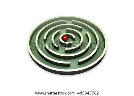 Red ball in the center of the green maze. Isolated over white background. 3D illustration rendering