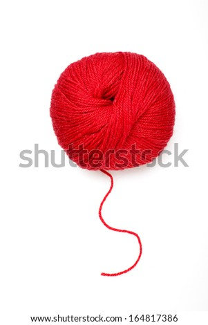Red ball of wool - stock photo