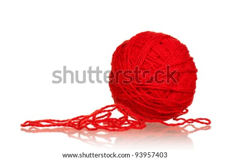 Red ball of yarn for knitting isolated on white background - stock photo