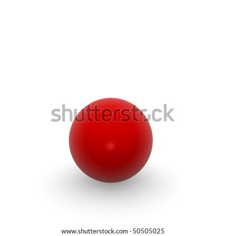 red ball on white background - stock photo