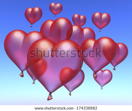 Red ballon hearts floating under blue sky, 3d rendering