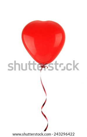 Red balloon in the shape of heart isolated on white - stock photo