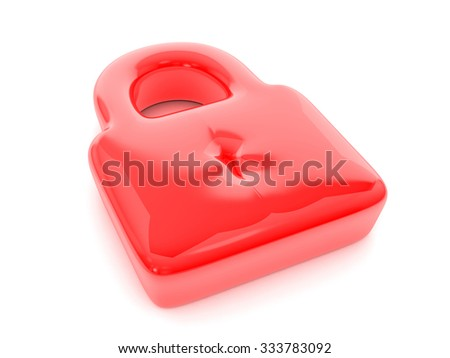 Red balloon padlock symbol on a white background.