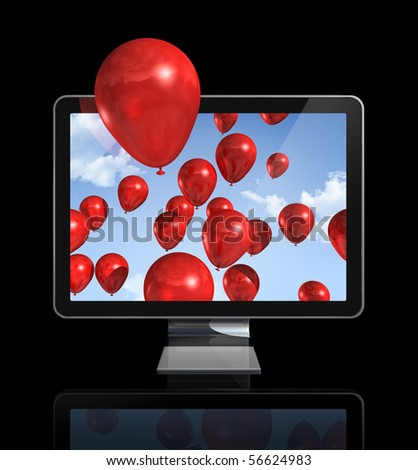 red balloons in a 3D tv screen isolated on black with clipping path - stock photo