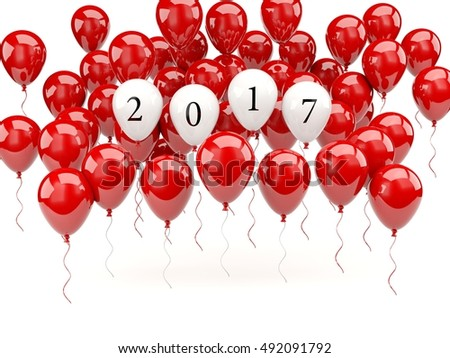 Red balloons with 2017 New Year sign. 3D illustration