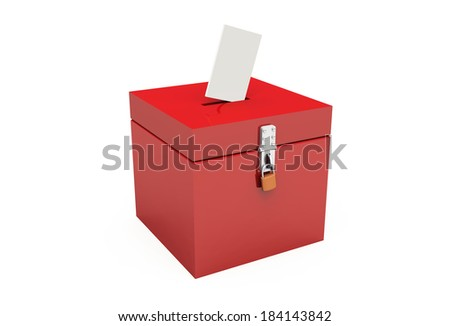 red ballot box with padlock and ballot paper 2 - stock photo