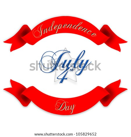 Red banners with golden Independence Day text and a white stars with 4th of July blue text - stock photo
