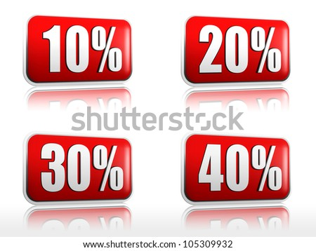 red banners with 10 20 30 40 percents - stock photo
