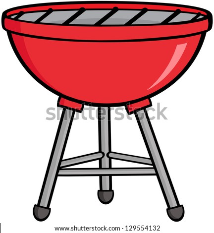 Red Barbecue. Raster Illustration.Vector Version Also Available In Portfolio. - stock photo