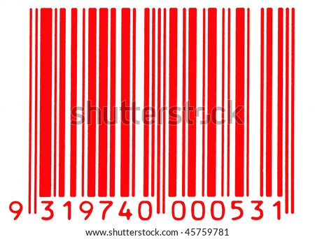 red barcode - stock photo