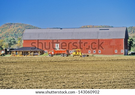 Red barn and farm along scenic highway, U.S. Route 7, Connecticut - stock photo