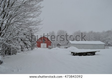 Red Barn Front in Snow Storm Wide Angle Landscape